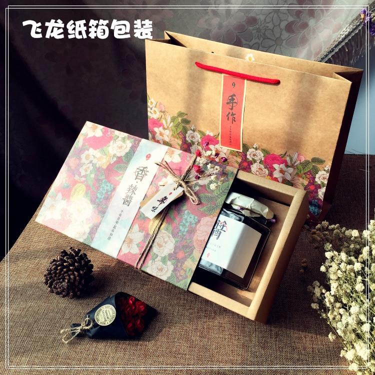 Boîte de papier Kraft de concepteur de haute qualité de 23.5*15.5*8.5 CM pour la boîte simple de confiture/miel/épices/Sauce de bouteille carrée de 280 ml-in Sacs-cadeaux et emballages from Maison & Animalerie    1