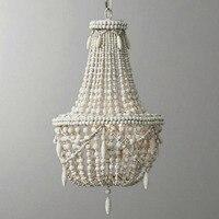 Американский люстра творческий ретро старые деревянные бусины люстра детская комната спальня личности декоративные подвесные светильник