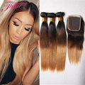 Human Hair Straight Weave Ombre 3 Bundles Cambodian Silky Straight Virgin Hair With Free Part Top Lace Closure Blonde Color