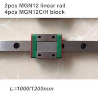 2pcs 12mm Linear Guide MGN12 L=1000 1200 mm linear rail way + 4pcs MGN12C or MGN12H Long linear carriage