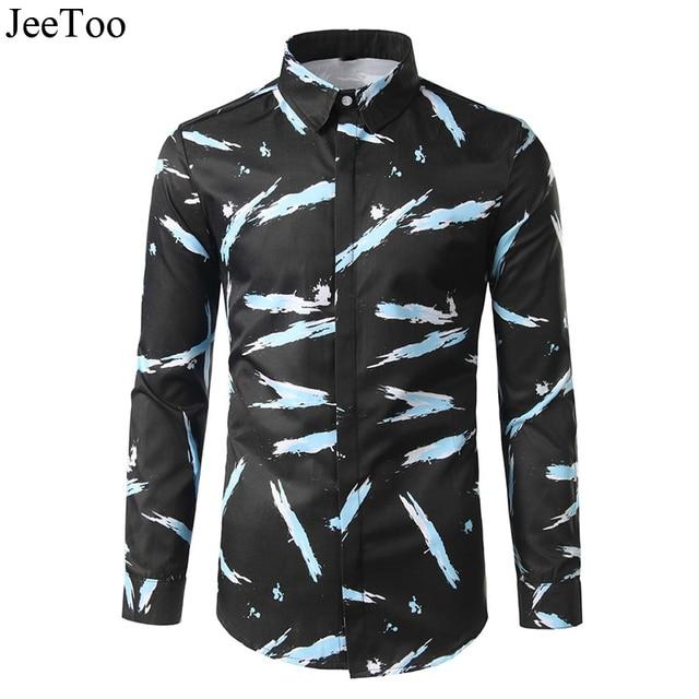 ceb75c63 JeeToo New Mens Shirts Long Sleeve Casual Shirt Men Slim Fit Cotton Black Shirt  Print Floral Turn Down Collar Male Shirts XXL