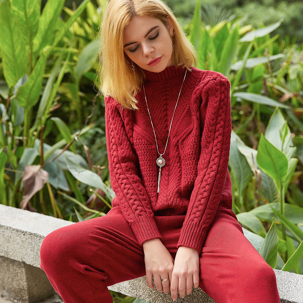 KICHA 2018 new autumn and winter women's women's knitwear high neck knit sweater two-piece long sleeve loose casual coat suit