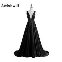 Real Picture Sexy Long Evening Dress Deep V Neck Satin Backless A Line Pageant Dress Celebrity