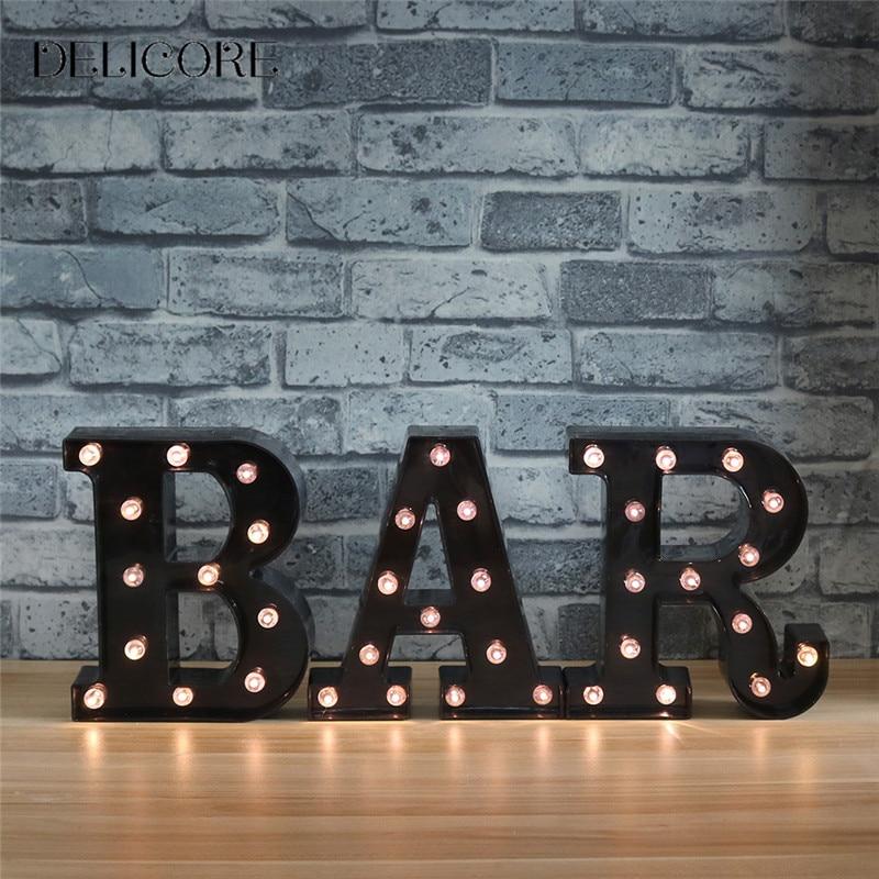 DELICORE New LED Night Light Lamp Kids Marquee Black Letter BAR ...