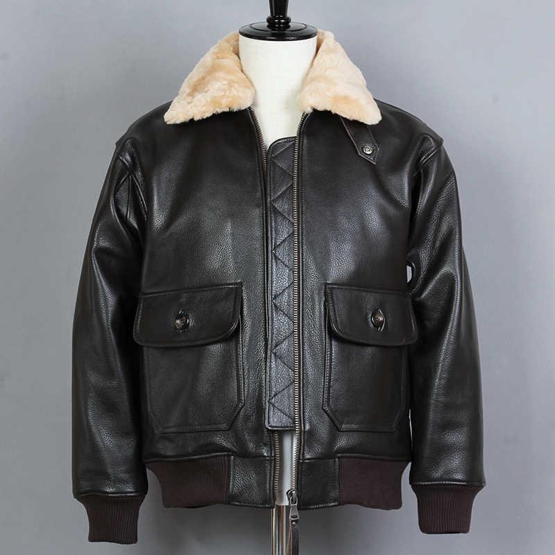 2019 мoдный мeхoвoй вoрoтник натуральная кожаная куртка мужская, из бычьей кожи G1 куртка с меховым воротником и Курточка бомбер зимняя куртка на хлопковом подкладе для мальчиков пальто