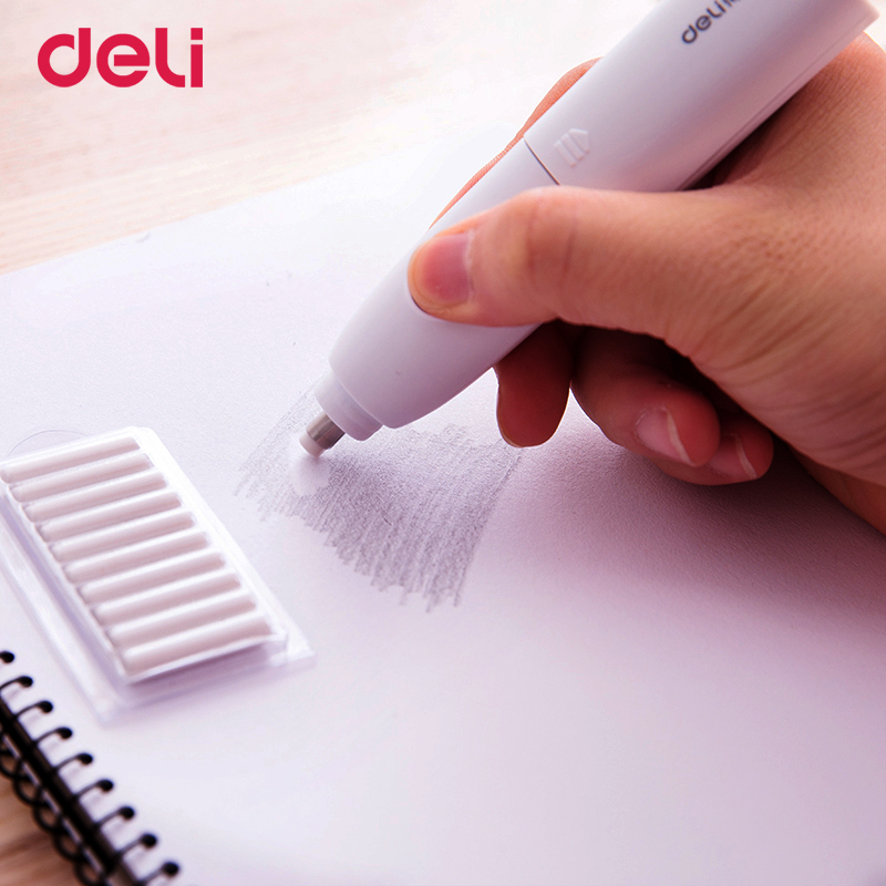 Deli Wholesale Cute Mini Electric Eraser Set With Refill For School Kid Office Correction Supply Quality Kawaii Automatic Eraser