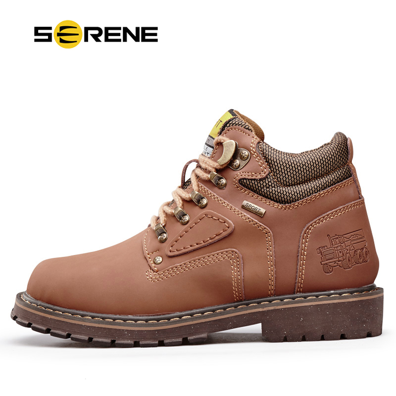 SERENE Brand Men Shoes Autumn Winter Warm Fur Tooling Shoes Size 38~44 Fashion Casual Cow Leather Boots Lace-up Ankle Boots z suo brand autumn winter men s genuine leather tooling boots lace up brush off cow leather handmade men ankle boots