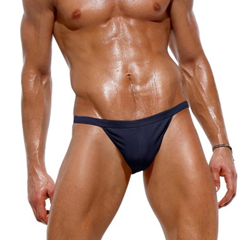 Brand Male Swim Thong Briefs Sexy Low Rise Men's Nylon Swimwear Bikini Brief Mens Swimming Surf Elastic Sunga G String Swimsuits