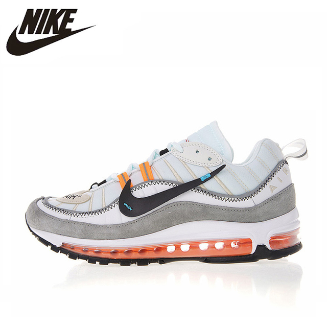 new styles 5ff31 dbc24 US $110.6 30% OFF|Nike Air Max 98 Men's Running Shoes, White & Grey, Shock  Absorbing Wear resistant Breathable Lightweight 640744 086-in Running Shoes  ...