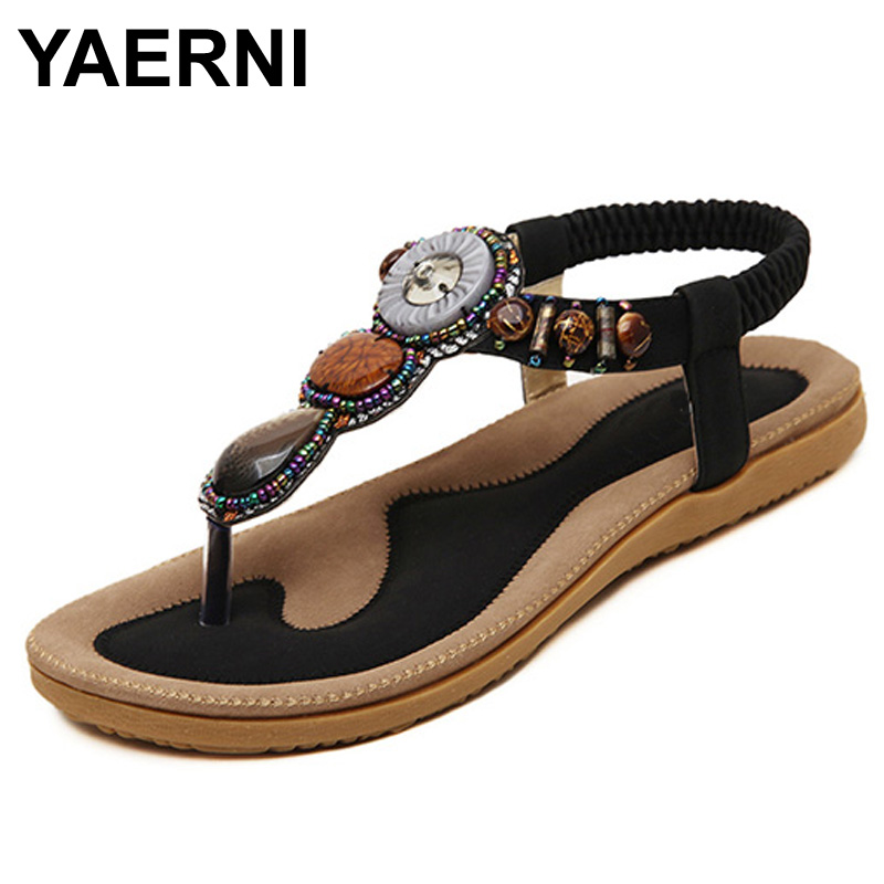 YAERNI 2017 summer women sandals fashion woman flip flop sandal bohemian style female casual wild flat with beach shoes ATT01 bohemian rhinestones and flip flop design sandals for women