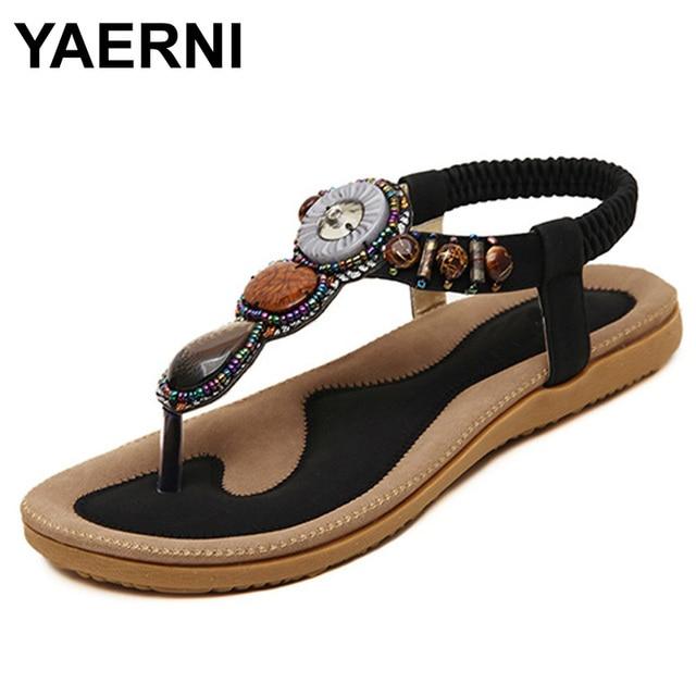 7522bb0a802469 YAERNI 2017 summer women sandals fashion woman flip flop sandal bohemian  style female casual wild flat with beach shoes ATT01