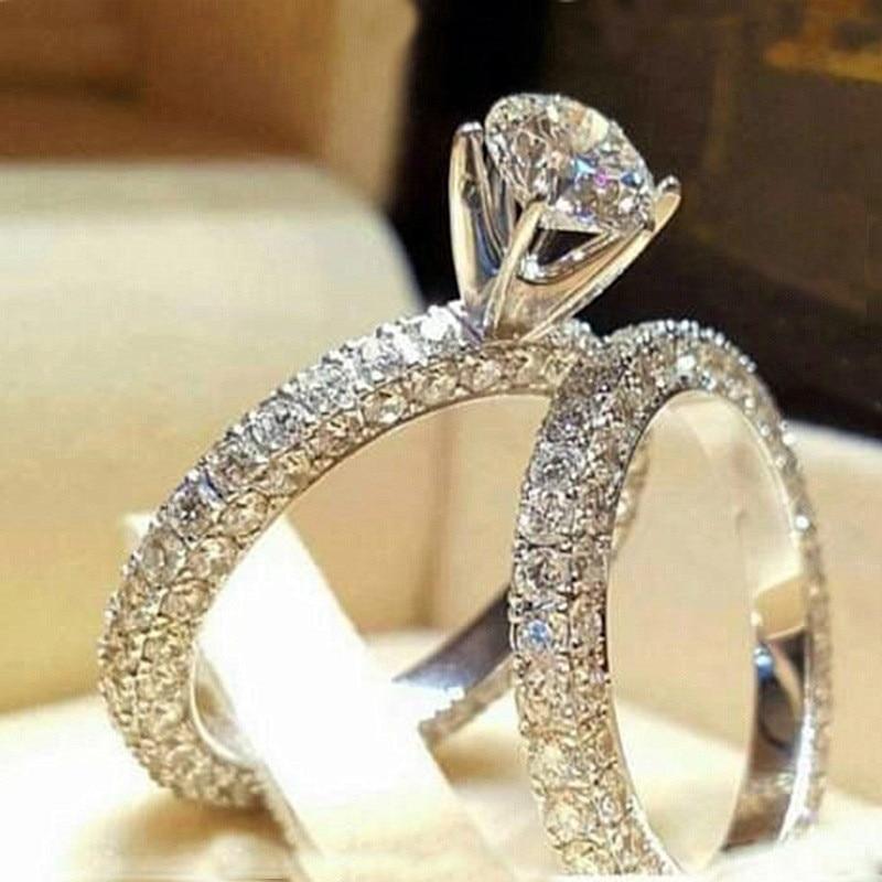 2 шт. свадебный набор элегантные кольца для женщин серебряного цвета Свадебные обручальные модные украшения с полностью блестящим Cubiz женское кольцо с цирконом - Цвет основного камня: I