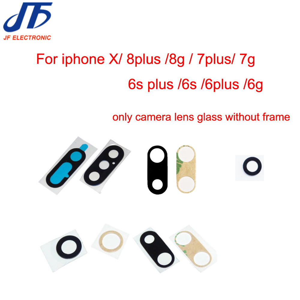10pcs Back Camera Glass Lens for iPhone X 7 6 8 6S Plus 6G 7G 8g Rear Camera lens real glass+ Sticker Adhesive Replacement Parts