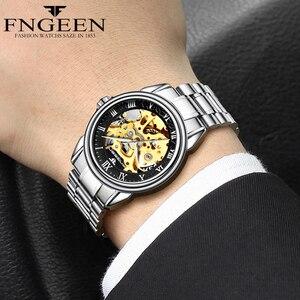 Image 3 - זוג שעונים למעלה מותג פלדה מכאני שעון יד לגברים ונשים Orologio Uomo Tourbillon שלד Relogio Feminino Saats