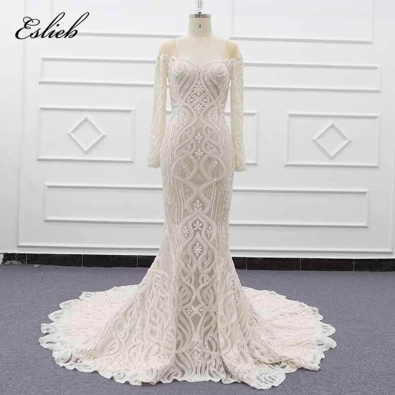 Eslieb Free Shipping Vinatge Ivory Mermaid Wedding Dresses Button Back Wedding dress 2019 Bridal Dresses Wedding