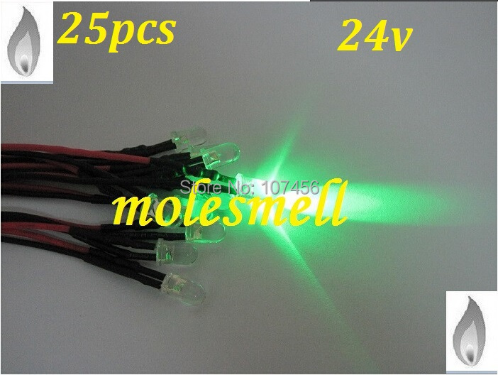 Free Shipping 25pcs 5mm Green Flicker 24V Pre-Wired Water Clear LED Leds Candle Green Light 20CM