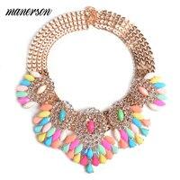 Manerson moda frisada de cristal em camadas flor choker colares declaração de noiva colar de strass colar de corrente de ouro