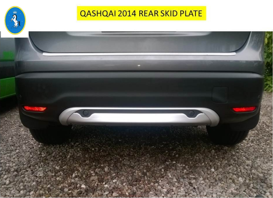 High Quality ! ABS Front + Rear Bumper Protector Skid Guards Plate 2 pcs Garnish For Nissan Qashqai J11 2014 2015 2016 4 pcs chrome plated abs door handle bowl for nissan qashqai