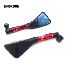 8 10mm universal cnc motorcycle mirrors Blue Lens Rearview cafe racer Side Mirror FOR suzuki gsx s1000 honda msx 125 piaggio mp3 цены