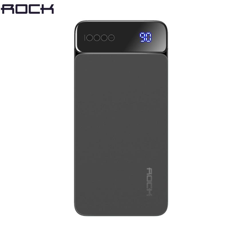 Rock Portable 10000mah Power Bank Slim Thin Backup Charger Polymer Digital Display Powerbank 10000 mah External Battery