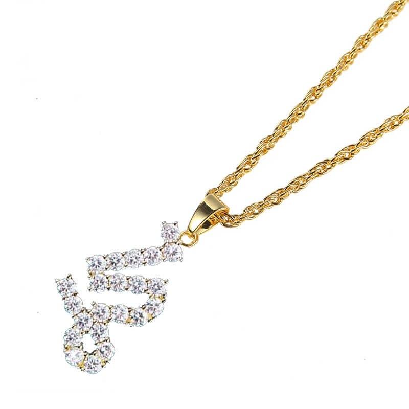 12 konstelacji wisiorek Iced Out Rhinestone łańcuszek do obojczyka kobiety i mężczyzna biżuteria naszyjniki