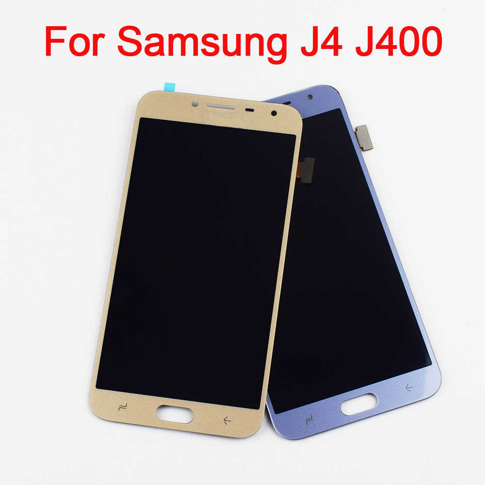 قابل للتعديل لسامسونج غالاكسي J4 J400 SM-J400F J400H J400G/DS شاشة تعمل باللمس الاستشعار الزجاج + شاشة الكريستال السائل لوحة مراقبة الجمعية