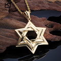 Kalen New Stainless Steel  Dubai Gold Plated Six-Pointed Star Pendant Necklace Twisted Long Chain Necklace For Men Gift 2016