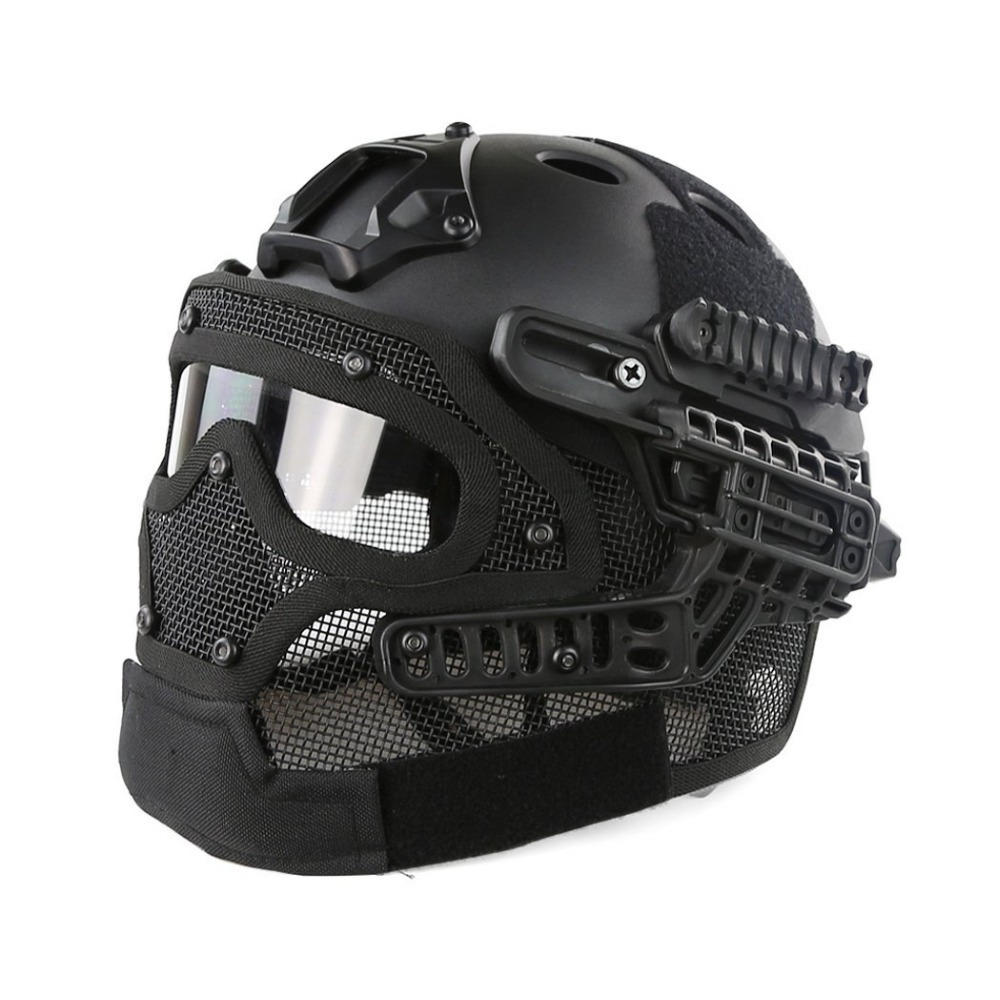 FAST Molle Tactical Helmet Combined With Full Mask and Goggles for Airsoft Paintball CS and Other Outdoor Activities Free Size tactical skull face mask military field us active duty m50 gas mask cs field skull mask for hunting paintball