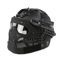 FAST Molle Tactical Helmet Combined With Full Mask and Goggles for Airsoft Paintball CS and Other Outdoor Activities Free Size
