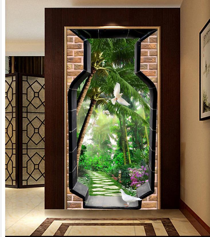 Home decoration 3d bathroom wallpaper vase door 3d for Wallpaper for home entrance