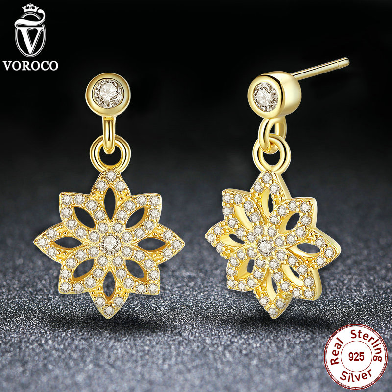 VOROCO Lace Botanique Clear CZ Floral Blooms Drop Earrings Compatible with Original VRC 925 Sterling Silver