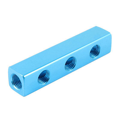 1/4 PT Thread 6 Ports Quick Connector Air Hose Manifold Block Splitter air compressor 1 2bsp 2 way hose pipe inline manifold block splitter teal blue