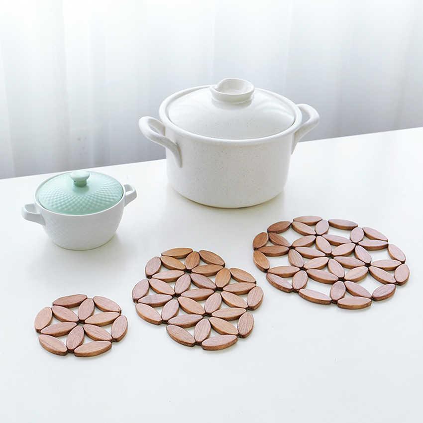 รอบ/Hexagon/Plum blossom ไม้ไผ่กลวง Coasters สำหรับเครื่องดื่มตาราง Mats Pots ไม้ไผ่ Placemat ฉนวนกันความร้อน Pad สำหรับห้องครัว