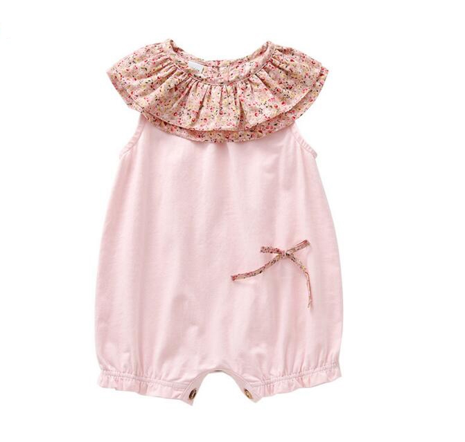 Summer Baby Girl Floral Flower Printed Rompers Children Sleeveless Ruffles Neck One-Pieces Clothes Kids Cute Rompers Clothes baby rompers o neck 100