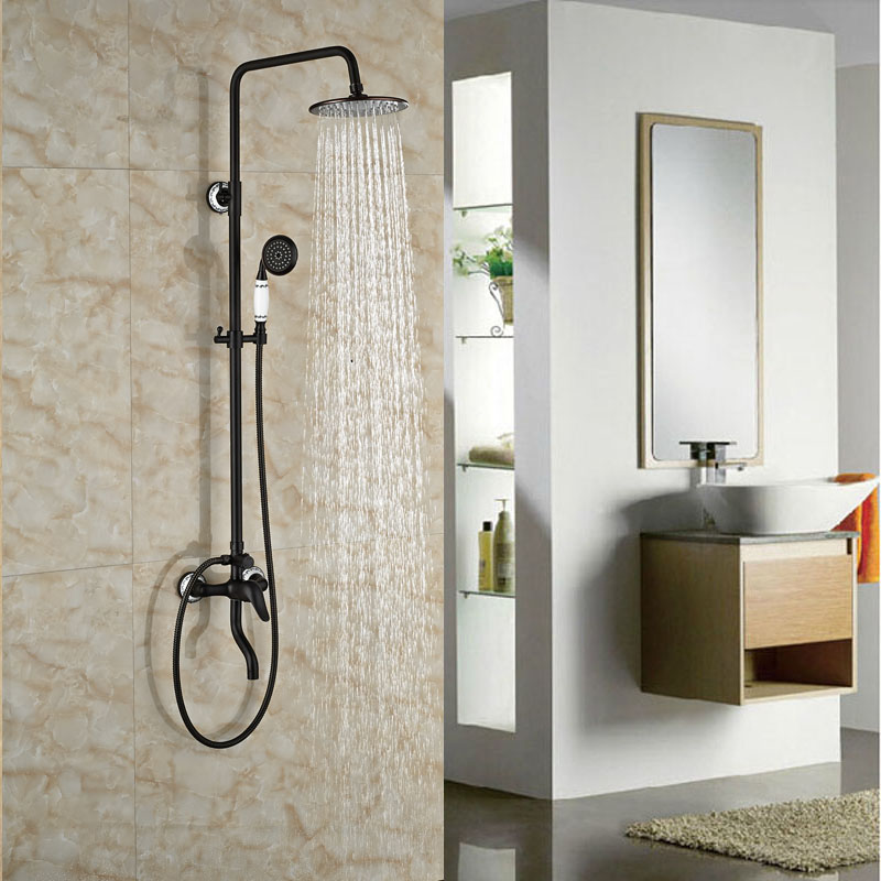 Wall Mounted Oil Rubbed Broze Shower Set Single Lever With Hand Shower Mixer Tap