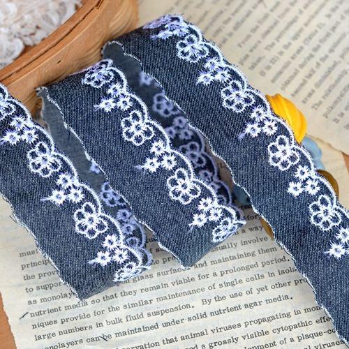 Белая вышитая джинсовая кружевная ткань, ширина 2,5 см