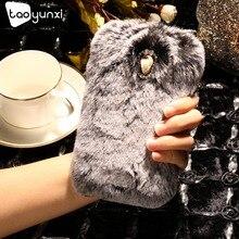 Фотография TAOYUNXI Rabbit Fur Case For Lenovo Vibe B A2016 A1010 A20 A1000m A Plus APlus A1010a20 A 1010 Case Cover Soft TPU Bag Housing
