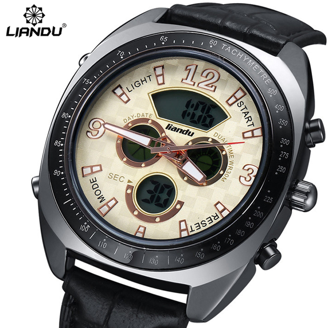 LIANDU Men Sports Watches White Face 3ATM Water Resistant Analog LED Digital Display Genuine Leather Watches Erkek Kol Saati