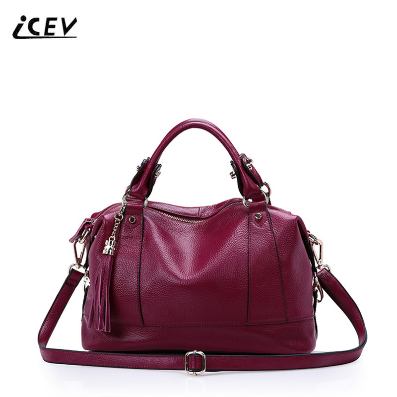 ICEV New European Fashion Women Leather Handbags Tassel Genuine Leather Handbags Casual Boston Bags Handbags Women Famous Brands icev new fashion europe style genuine leather handbags alligator women leather handbags bags handbags women famous brands bolsa