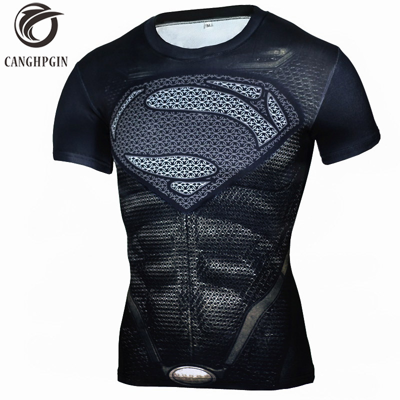 CANGHPGIN Superman Rashgard Man Running Shirt Men Short Sleeve Soccer Jerseys Men's Compression Tights Fitness Sports Wear 2018