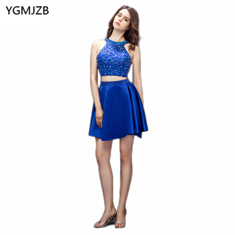 Royal Blue Two Piece   Cocktail     Dresses   2018 New Fashion A Line Halter Open Back Beaded Crystal Short   Dress   Party   Cocktail     Dress