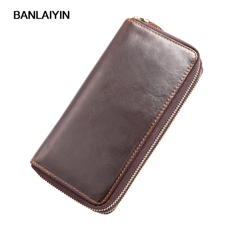 Design Brand Men's Purses 111% Genuine Leather Men Clutch Bags Double Zipper Long Men Wallets With Coin Purse Card Holder banlosen brand men wallets double zipper vintage genuine leather clutch wallets male purses large capacity men s wallet