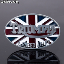 5 Pcs MOQ WesBuck Brand New Style British flag TRIUMPH A BREED APART belt buckle Oval Metal For 4cm Wide Belt