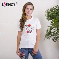 LIENZY Summer Ins Women White T Shirt Short Sleeve Nothing Letter Rose Print O Neck Women