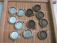 50 Adet Antik Gümüş/Bronz 14mm Yuvarlak Cameo Cabochon Çerçeve Kolye Boş Tepsi Ayarı Çift taraflı
