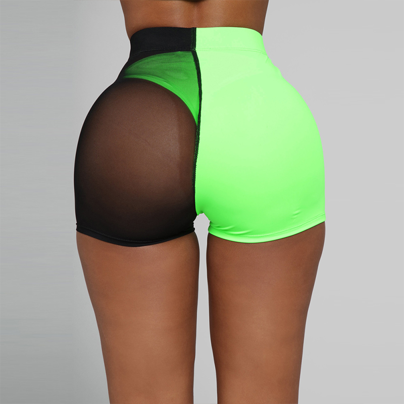 Diwish New Arrival Patchwork Mesh Shorts For Women Sexy Fashion Summer Casual Slim Fit Black Green Patchwork Shorts Women