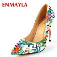 ENMAYLA/2018 г. женские брендовые туфли лодочки на высоком каблуке, обувь Rivetes, женские разноцветные вечерние туфли с острым носком, туфли лодочки