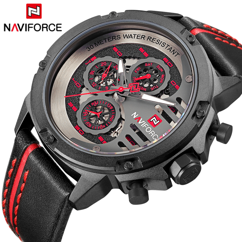 Luxury Brand NAVIFORCE Men's Sport Watches Men Leather Quartz Waterproof Date Clock Man Military Wrist Watch Relogio Masculino luxury brand naviforce men sport watches waterproof led quartz clock male fashion leather military wrist watch relogio masculino