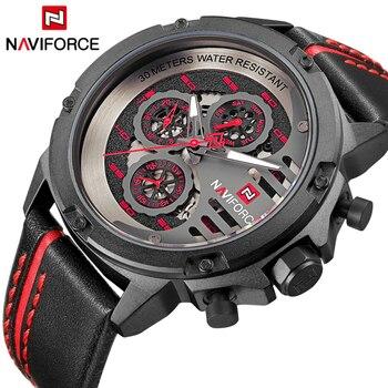 NAVIFORCE 9110 Men's Sport Watches Men Leather Quartz Waterproof with box
