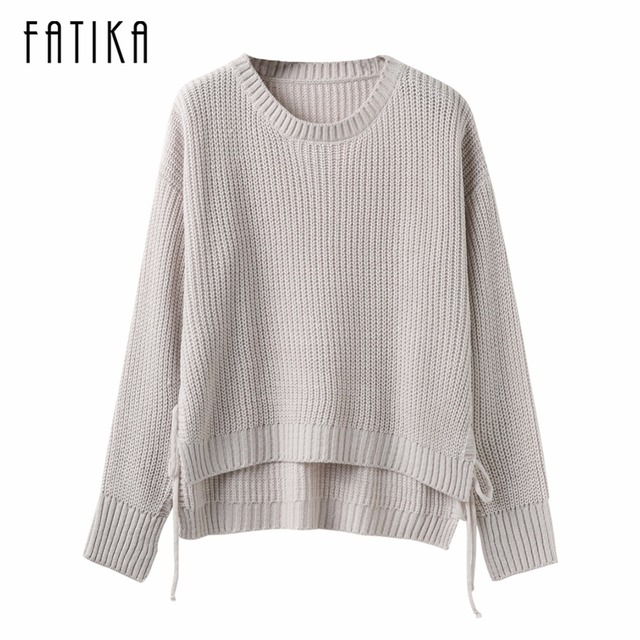 FATIKA 2017 New Fashion Women's Pullovers Side Lace Up O-neck Knitted Sweaters Front Long Back Long Casual Loose Jumper Tops